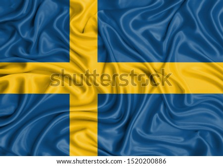 Silk Flag of Sweden. Sweden Flag of Silk Fabric. #1520200886