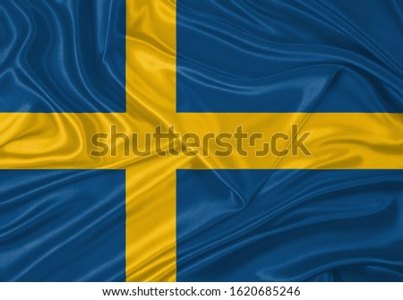 Silk Flag of Sweden . Sweden Flag of Silk Fabric