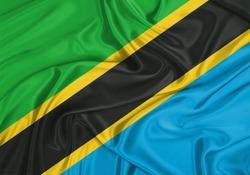 Silk Flag of Tanzania. Tanzania Flag of Silk Fabric.