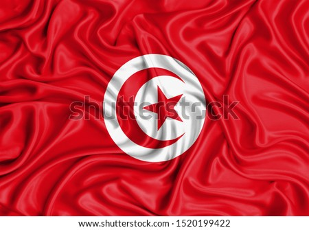 Silk Flag of Tunisia. Tunisia Flag of Silk Fabric. #1520199422