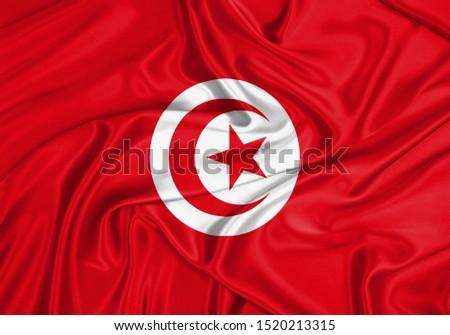 Silk Flag of Tunisia. Tunisia Flag of Silk Fabric. #1520213315