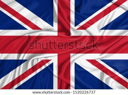 Silk Flag of United Kingdom. United Kingdom Flag of Silk Fabric.