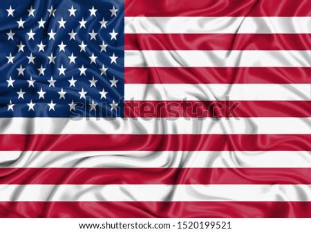 Silk Flag of USA. USA Flag of Silk Fabric. #1520199521