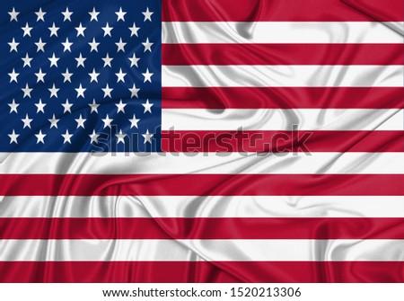 Silk Flag of USA. USA Flag of Silk Fabric. #1520213306
