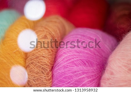 Silk multicolored mohair and bokeh circles