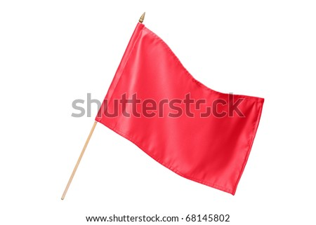 Silk red flag isolated on white background
