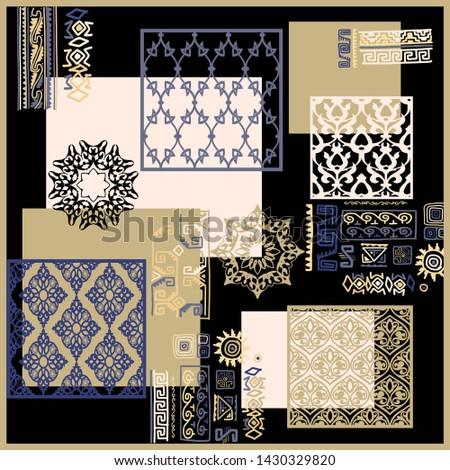 Silk scarf design, scarf pattern ,geometric. fashion textile Stok fotoğraf ©