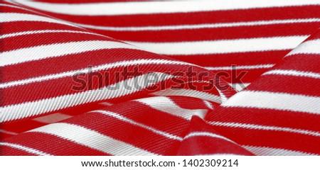 silk striped fabric. Red-white stripes.  #1402309214