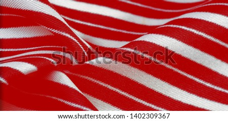 silk striped fabric. Red-white stripes. #1402309367