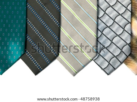 Silk ties isolated on white. background