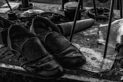 Silk Worker's Shoes at an abandoned silk mill.