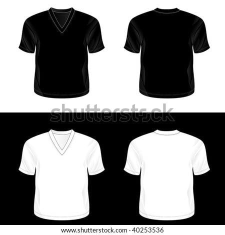 ... and white realistic blank v-neck t-shirt templates (front and back