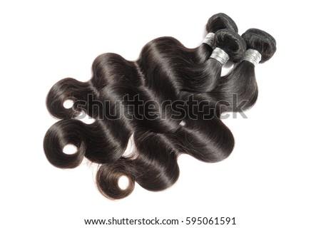 Silky body wavy black virgin remy human hair extension bundles
