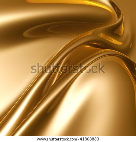 Silky gold metal fractal abstract illustration