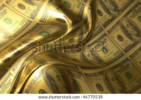 Silky smooth and glowing money abstract background illustration