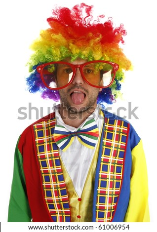 Silly clown showing his tongue, isolated on white
