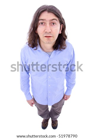 Silly man posing isolated over white background