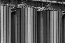 Silo - building for storage and drying of grain crops. Industrial concept, silo tower over sky. Black and white