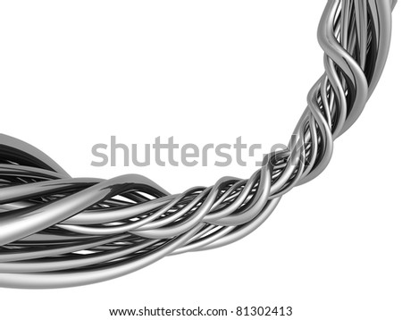 Silver abstract string wire artwork background