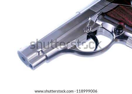 Silver Airsoft handgun isolated in a whit e background