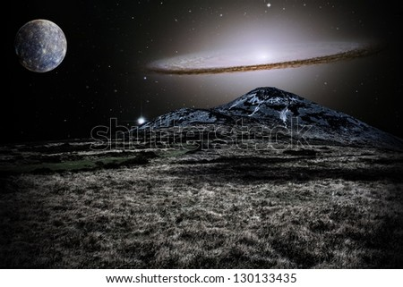 Silver alien landscape with mountain in a far away galaxy - elements of this image are furnished by NASA