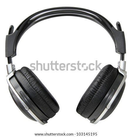 Silver and black headphones isolated  on a white background