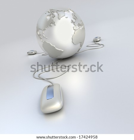 Silver and chrome Earth Globe connected with three computer mouses.