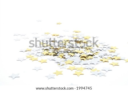 Silver and Gold conefetti stars on a white background
