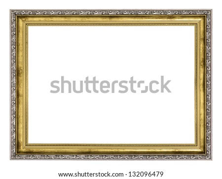 silver and gold frame isolated on white background