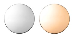 Silver and gold metal buttons, badges isolated on white