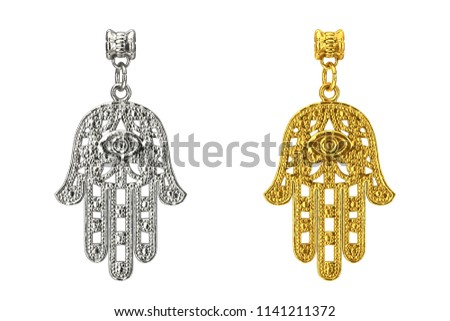 Silver and Golden Hamsa, Hand of Fatima Amulet Coulomb on a white background. 3d Rendering Сток-фото ©