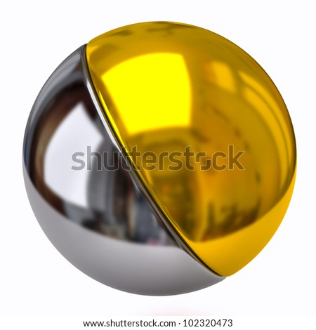 Silver and golden sphere