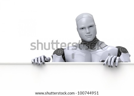 Silver android robot holding a blank sign for text or advertising, 3d illustration on white