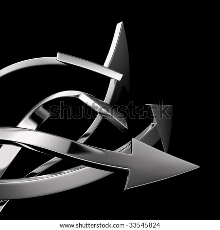 Silver arrows on white background isolated