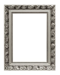Silver art frame isolated on white background