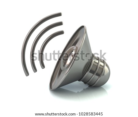 Silver audio speaker volume icon 3d illustration isolated on white background