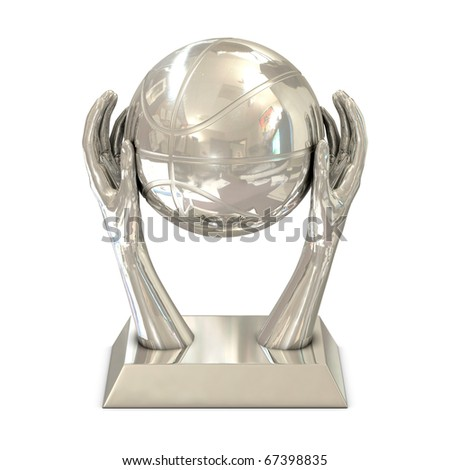Silver award trophy with stars, hands and basket ball isolated on white
