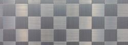 Silver background made of different surfaces in brushed aluminium in panoramic format for technology, industry and metal construction. Panoramic horizontal