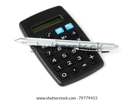 silver ballpoint pen upon small black plastic pocket calculator, isolated on white