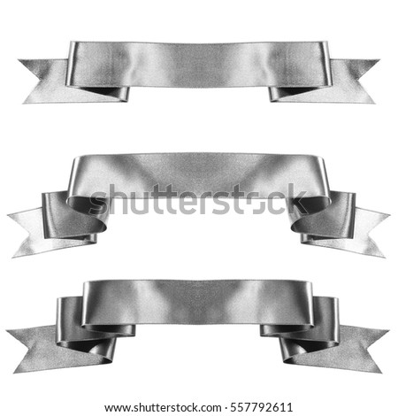 Silver banner ribbon set isolated on white background #557792611