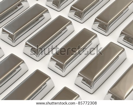 Silver Bars on white background