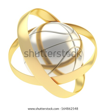 Silver basketball ball inside golden rings abstract composition isolated over white background