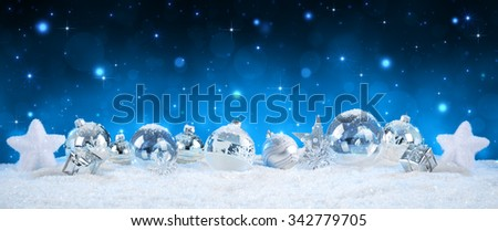 Silver Baubles On Snow - Starry Night Background