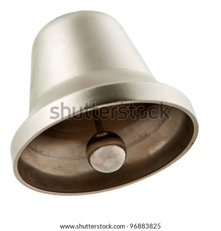 Silver bell isolated on white - stock photo