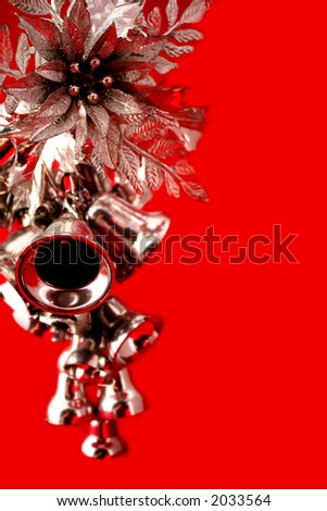 Silver Bells and Holly Background
