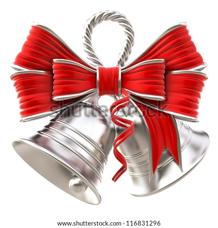 silver bells with a red bow. isolated on white.