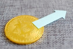 Silver bitcoin with reflex and retro map background. Bit coin cryptocurrency banking money transfer business