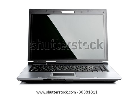 silver black isolated laptop computer