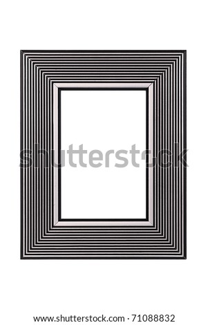 Silver-black picture frame isolated on white background
