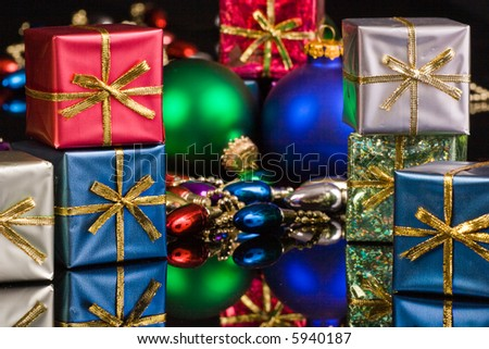 Silver, blue, red, packages with blue and green ornaments